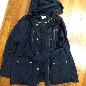 Marc Jacobs pre loved navy blue jacket with hood
